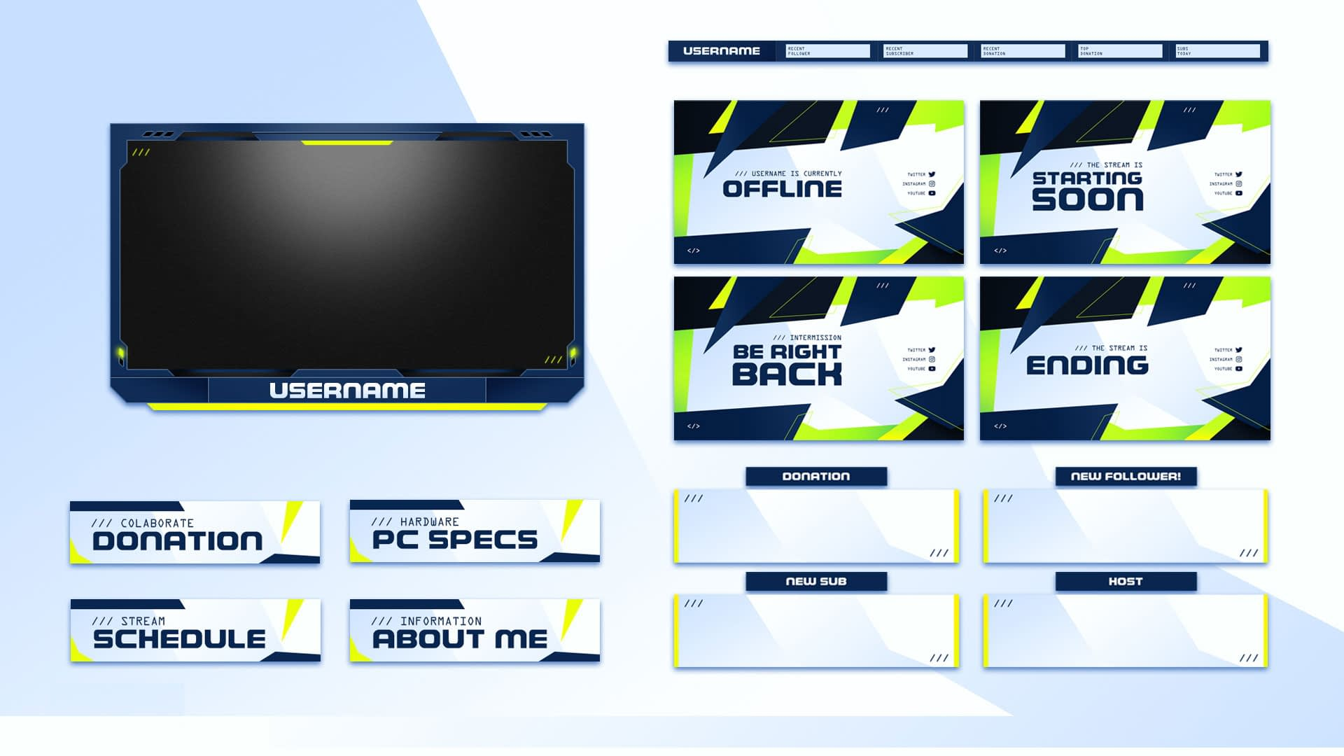 Minimal twitch overlay package